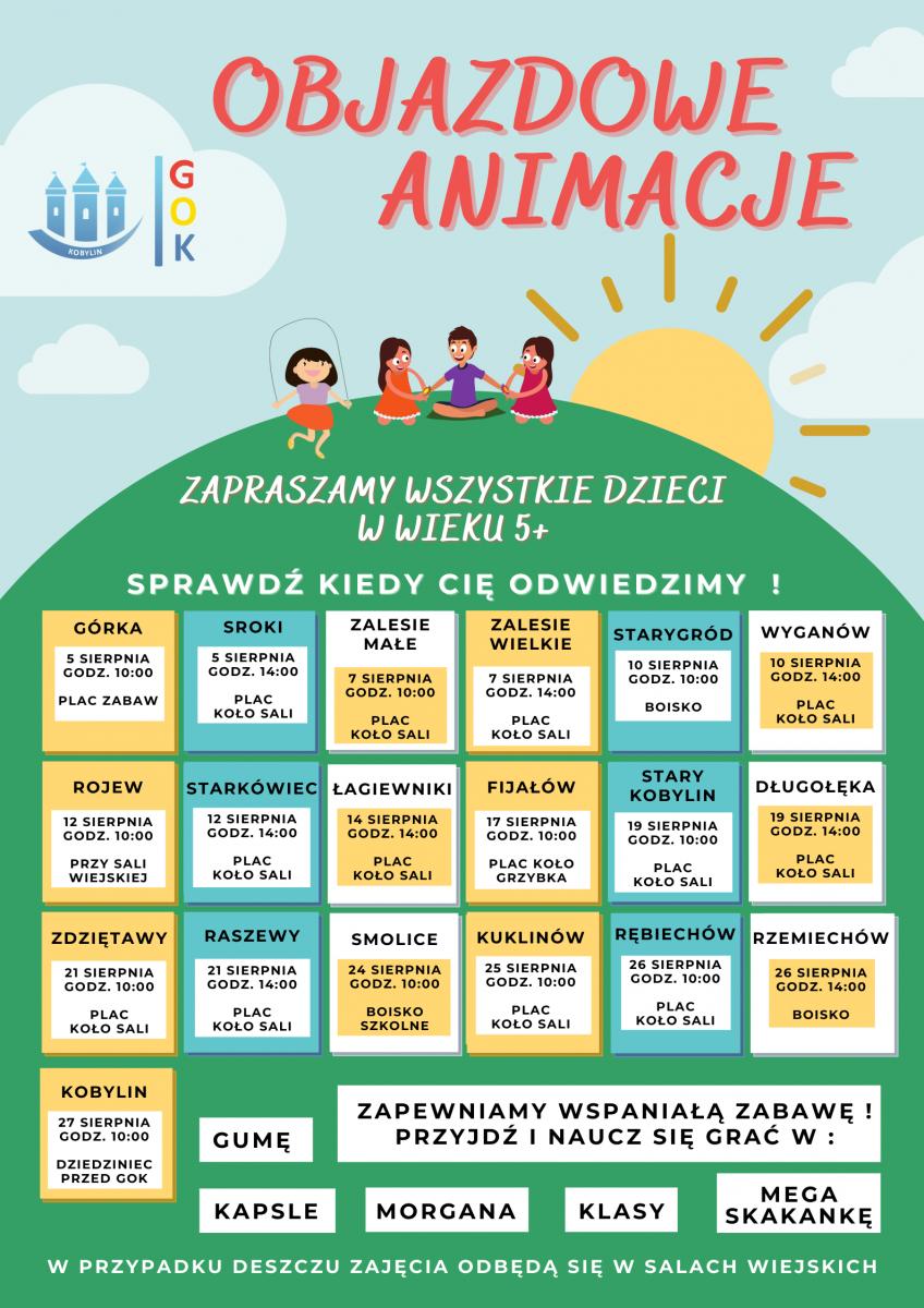 Plakat informuje o terminach i miejscach Objazdowych Animacji organizowanych i prowadzonych przez pracowników Gminnego Ośrodka Kultury w Kobylinie