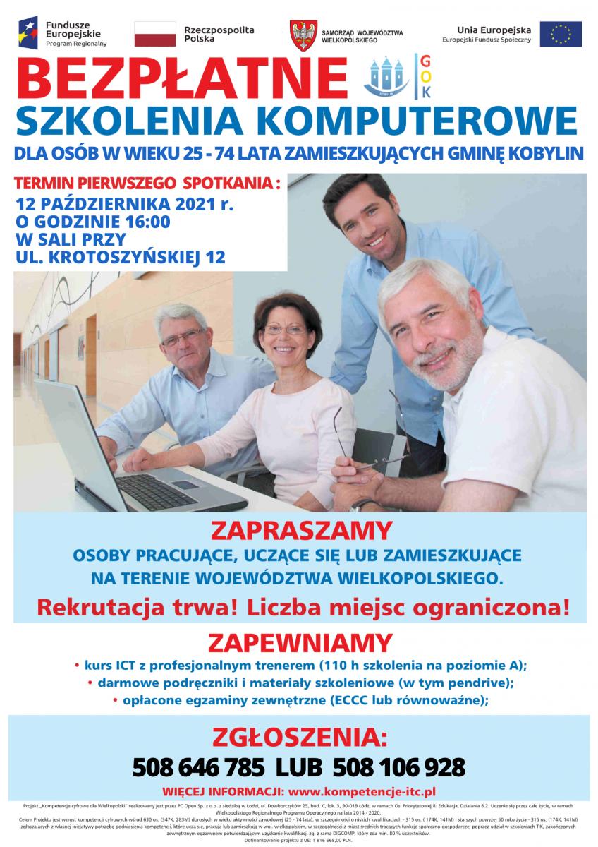 Grafika informująca o nadchodzącym kursie komputerowym skierowanym do osób w wieku 25-74 lata zamieszkujących gminę kobylin