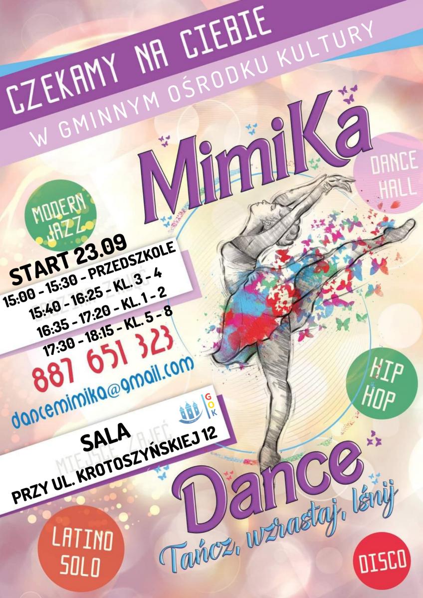 Plakat informuje o rozpoczęciu zajęć tanecznych w Gminnym Ośrodku Kultury w Kobylinie prowadzonym przez grupę Mimika.
